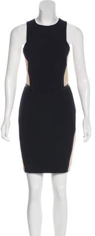 Rag & Bone Leather-Trimmed Mesh-Accented Mini Dress Black Leather-Trimmed Mesh-Accented Mini Dress