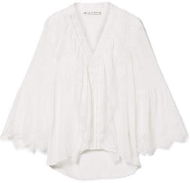 Alice + Olivia Alice Olivia - Jaden Lace-paneled Gauze Blouse - Off-white