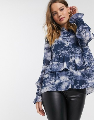 Y.A.S blouse with ruffle hem