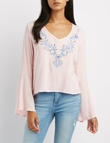 Charlotte Russe Embroidered Bell Sleeve Top