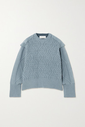 REMAIN Birger Christensen Diana Cable-knit Cotton-blend Sweater - Blue