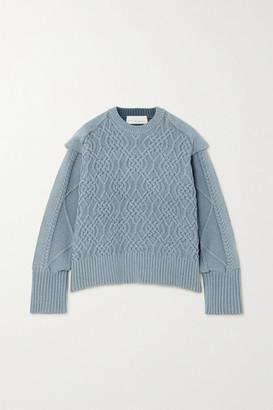 REMAIN Birger Christensen Diana Cable-knit Cotton-blend Sweater - Blue