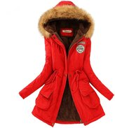 Aro Lora Women's Winter Warm Faux Fur Hooded Cotton-padded Coat Parka Long Jacket