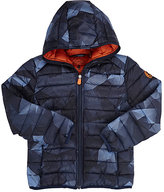 Save The Duck Camouflage Channel-Quilted Water-Repellent Nylon Coat-BLUE