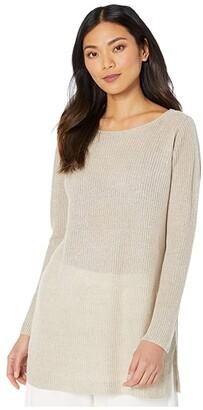 Eileen Fisher Organic Linen Melange Bateau Neck Bracelet Sleeve Tunic (Khaki) Women's Clothing