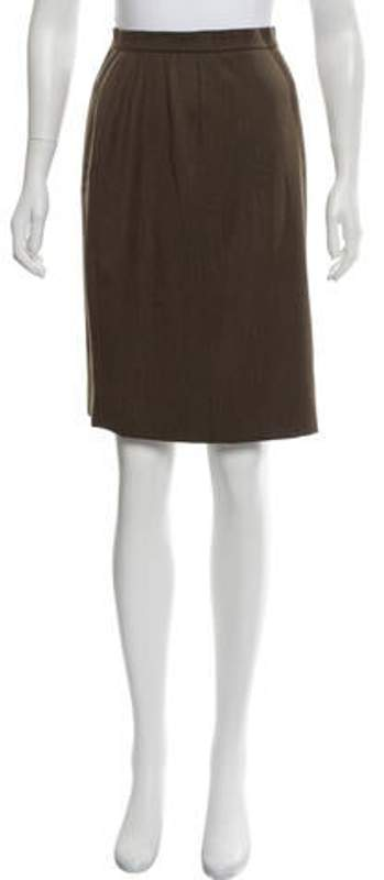Chanel Wool Knee-Length Skirt Brown Wool Knee-Length Skirt