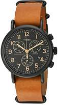 Timex Weekender Chrono Oversize Leather Slip-Thru Strap Watches