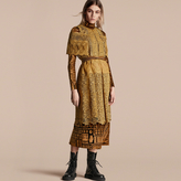 Burberry Cape-sleeved Macramé Dress