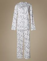 Marks and Spencer Pure Cotton Revere Floral Print Pyjamas
