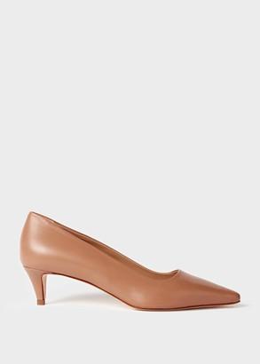 Hobbs Millie Leather Kitten Heel Court Shoes