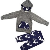Morecome 1Set Baby Boy Girl Clothes Deer Hooded Tops Jacket +Pants Outfits (9M, )