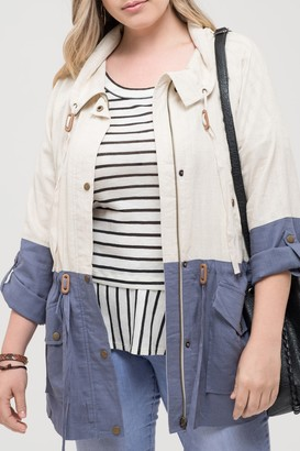 Perch By Blu Pepper Long Lined Utility Jacket (Plus Size)