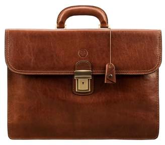 Maxwell Scott Bags Maxwell Scott Mens Classic Italian Leather Briefcase - Paolo2 Tan