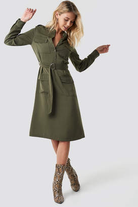 NA-KD Pocket Detail Belted Shirt Dress Green
