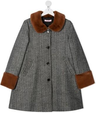 Miss Blumarine TEEN herringbone single-breasted coat