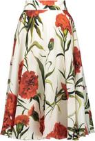 Dolce & Gabbana Ruffled floral print silk-organza midi skirt