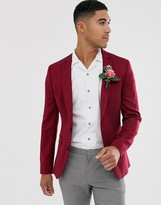 Asos Design DESIGN wedding super skinny wool mix blazer in burgundy