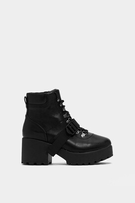 Nasty Gal Womens Block My World Faux Leather Boot - Black - 3