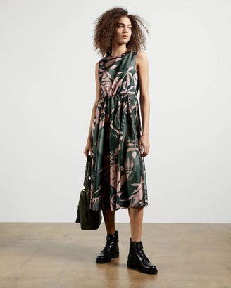 Ted Baker Draw Cord Printed Midi Dress