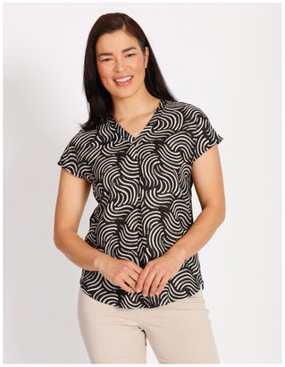 Regatta Etched Short Sleeve Woven Front Knit Back V Neck Tee With Pleat & HiLo Hem