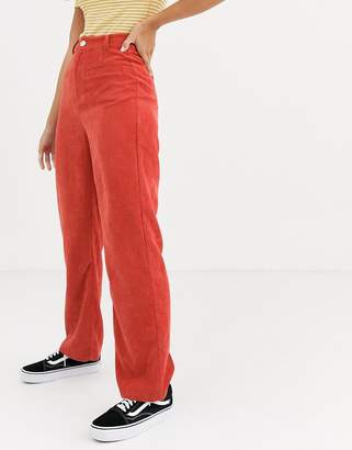 Daisy Street high waist trousers in cord-Orange