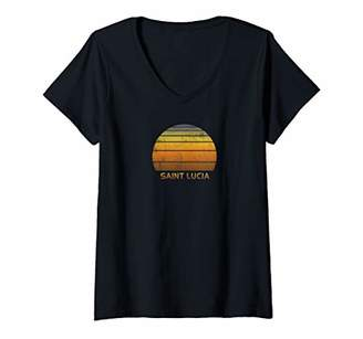 Womens Retro Saint Lucia V-Neck T-Shirt