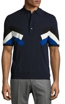 Neil Barrett Techno Modernist-Stripe Polo Shirt, Navy