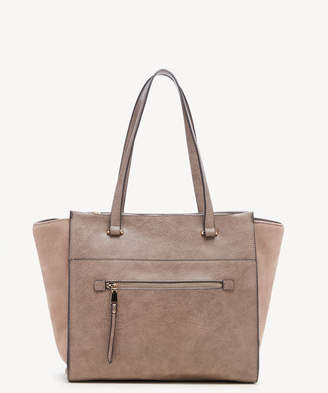 Sole Society Women's Chele Tote 2 Suede Mushroom Faux Leather From