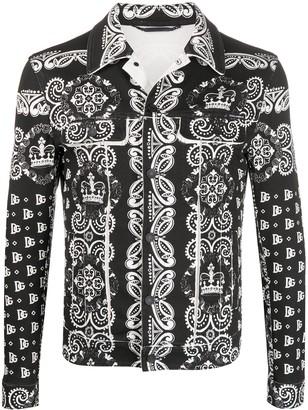 Dolce & Gabbana Bandana Print Denim Jacket