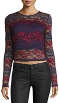 Romeo & Juliet Couture Long-Sleeve Lace Crop Top, Burgundy/Blue