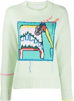 Mira Mikati knitted elephant embroidered jumper