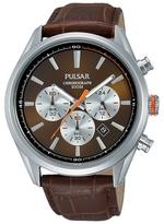 Pulsar Brown Chronograph Strap Watch Pt3723x1