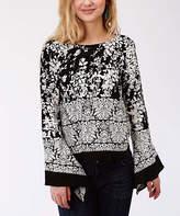 Roper Black & White Floral Bell-Sleeve Tunic