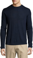 Neiman Marcus Wool Crewneck Modern-Fit Sweater, Midnight