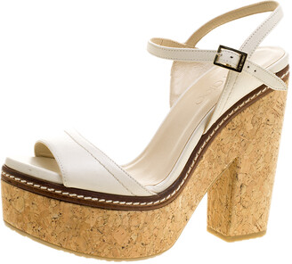 Jimmy Choo Cream Leather Naylor Platform Cork Ankle Strap Sandals Size 41