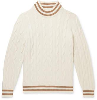 Brunello Cucinelli Striped Cable-Knit Cashmere Sweater