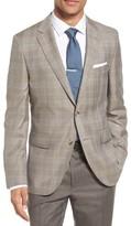 BOSS Men's Jeen Trim Fit Windowpane Wool Sport Coat