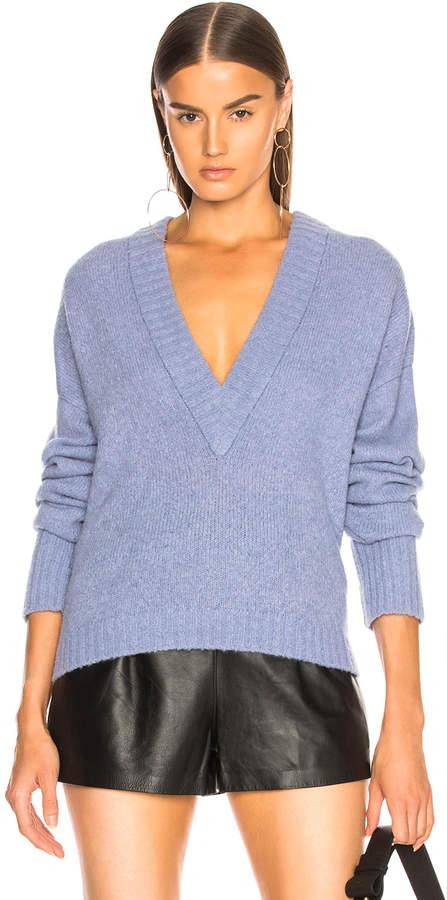 Airy Alpaca V-Neck Sweater in Fontus Blue | FWRD