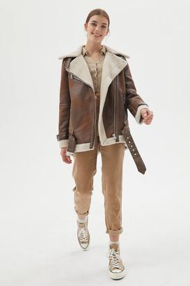 AVEC LES FILLES Oversized Sherpa Lined Moto Jacket