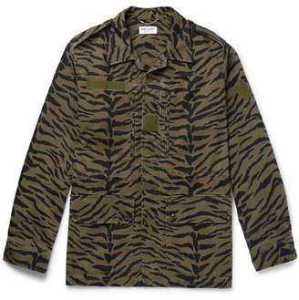 Saint Laurent Printed Cotton And Ramie-Blend Field Jacket