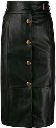 Twin-Set Faux Leather Buttoned Midi Skirt