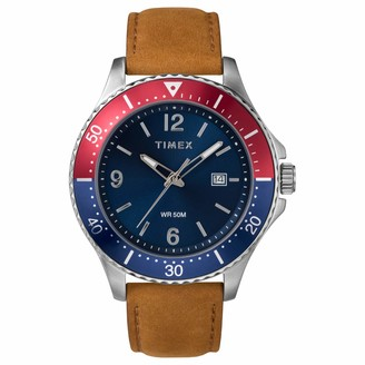 Timex Men's Diver-Inspired 3-Hand 43mm Watch Silver-Tone Case Blue Dial Red Accents with Tan Leather Strap