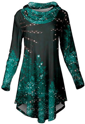 Lily Women's Tunics GRN - Black & Green Trees & Dots Curved-Hem Cowl Neck Tunic - Women & Plus