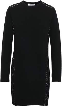 Valentino Lace-paneled Wool And Cashmere-blend Mini Dress