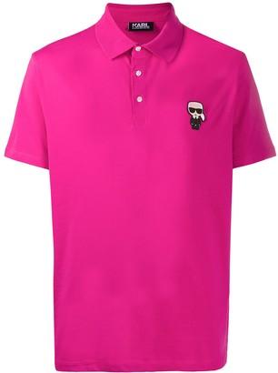 Karl Lagerfeld Paris Logo-Patch Short Sleeved Polo Shirt