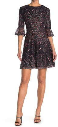 Papillon Ditsy Floral Lace Bell Sleeve Dress