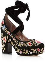 Tabitha Simmons Sky Flora Embroidered Lace Up Platform Pumps