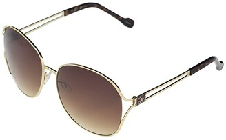Jessica Simpson 58 mm Metal Oval (Gold/Tortoise) Fashion Sunglasses