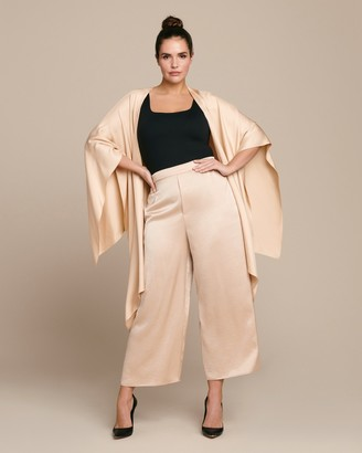 Sally LaPointe Stretch Crinkle Satin Oversized Elastic Waist Culotte