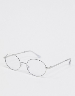 clear ASOS DESIGN round fashion glasses in silver metal with lens